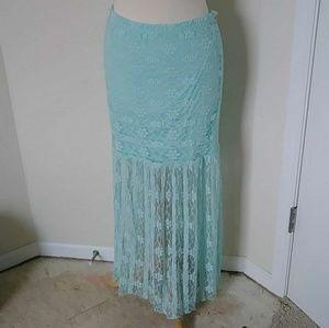 Dresses & Skirts - Blue lace maxi skirt.🌻